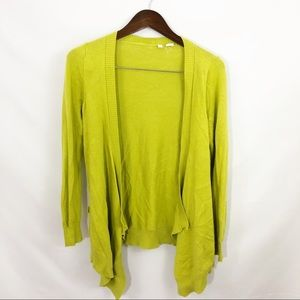 Anthropologie Moth Green Yellow Cardigan Sweater S